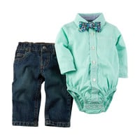 Carter's® 2-pc. Plaid Top & Jeans Set - Baby 0-12 Mos.   Stage Stores