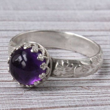 Amethyst ring with sterling silver wide floral pattern band, February birthstone, gemstone ring, purple ring, handmade, princess ring