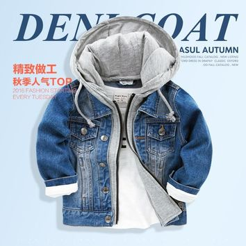 Trendy boy denim hooded jacket 2017 new autumn spring winter children baby jeans cotton clothes zipper AT_94_13