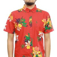 OBEY, Tourist Button-Up Shirt - Red - Tops - MOOSE Limited