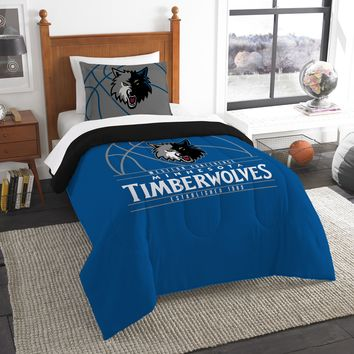 """Timberwolves OFFICIAL National Basketball Association, Bedding, """"Reverse Slam"""" Printed Twin Comforter (64""""x 86"""") & 1 Sham (24""""x 30"""") Set  by The Northwest Company"""