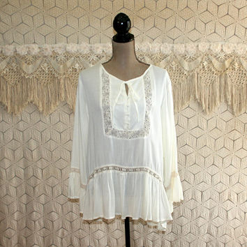 Bohemian Tunic Hippie Shirt White Blouse Boho Clothing Peasant Top Festival Long Sleeve Lace Trim Large XL Plus Size Womens Clothing