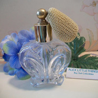 Cut Glass Perfume Atomizer Clear Curvy Bottle Vanity Dressing Table Gifts For Her