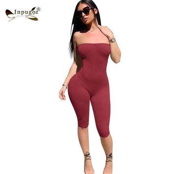 VONG2W Solid Simple Style Women Strapless Rompers Sexy Bodycon Women Bodysuits Skinny Jumpsuits