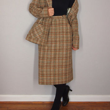Vintage Two Piece Plaid 1970s Skirt Set, Twill Plaid Wool Skirt and Jacket, Medium/Large, Suit Set, Lois Anderson for Tannery