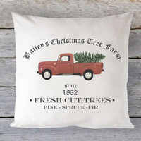 Christmas Tree Farm Pillow Cover - Christmas Tree Ad, Red Truck Pillow, Vintage Christmas Pillow, Farmhouse Pillow, 16 x 16, 18 x 18