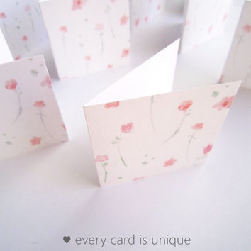 "2"" x 2"" Mini Floral Note Cards / Mini Thank You Enclosures / Fold note cards / Square Gift Tags / Watercolor flowers Set of 20"