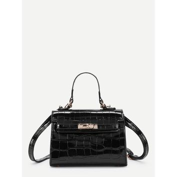 Black Crocodile Crossbody Bag