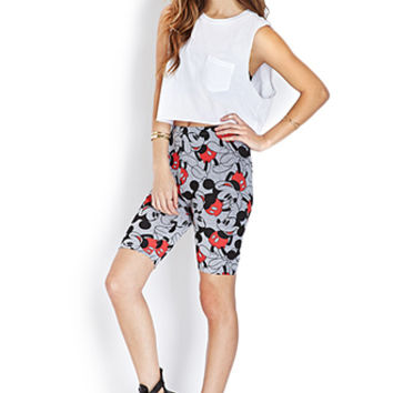 FOREVER 21 Mickey Mouse Biker Shorts Heather Grey/Black