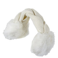 BCBG Variegated Cable-Knit Fur Trim Headwrap