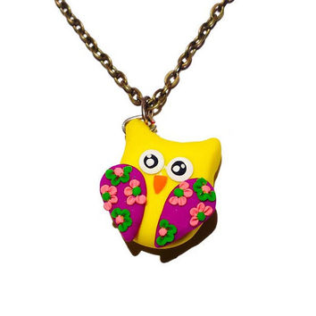 Yellow Owl Necklace, Fun Colorful Owl Necklace, Teen Girl Owl Necklace, Bright Owl Pendant, Teen Girl Gift Idea, Cute Mini Owl Necklace Gift