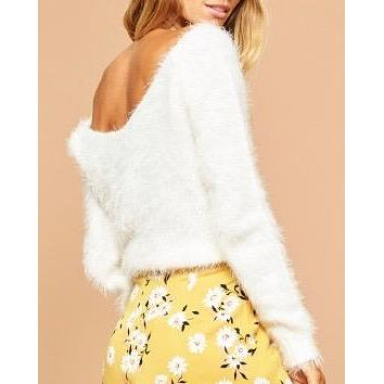 MINKPINK jackie fuzzy v neck jumper/sweater in off white