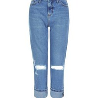 Blue Ripped Knee Turn Up Straight Leg Jeans