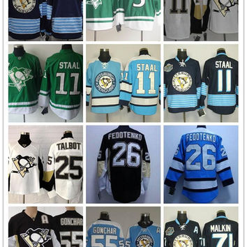 Stitched Pittsburgh Penguins #71 Malkin/55 GONCHAR/25 TALBOT/26 FEDOTENKO/11 Staal/blank Dark Blue Green Hockey Jerseys Ice Jersey