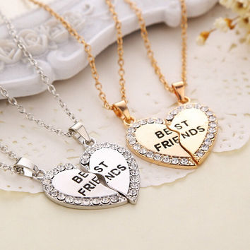 New Fashion 2pcs/set  Gold Silver Crystal Broken Heart  Best Friend Necklaces Pendants For Women Fine Jewelry whol