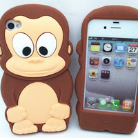Chocolate Monkey 3D Cute Rubber Soft Silicone Case+Film For iPhone 4G 4S MSC554