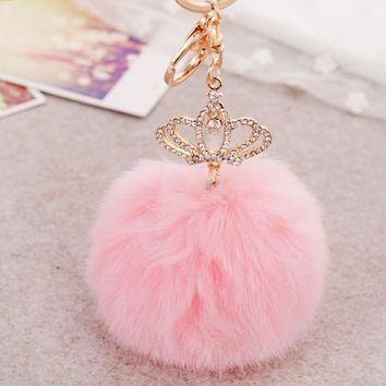 Faux Rabbit Fur Imperial Crown Pompom Keychain
