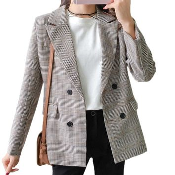 Gray Plaid Blazer Women 2018 Double Breasted Winter Coat Woman Blazers Feminino Casual Work Suit Long Sleeve Jacket Mujer Chic