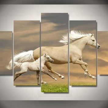 Mother N Her Colt 5-Piece Wall Art Canvas