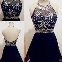 Fashion A-line Backless Black Chiffon Beading Homecoming Dress