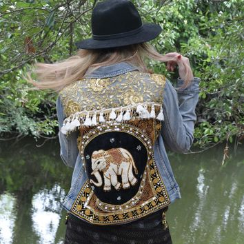 Vintage Embellished NAMO Zen Denim Jacket