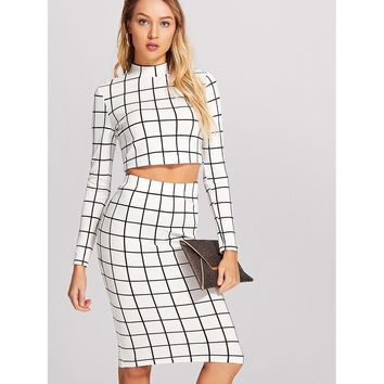Crop Grid Top & Pencil Skirt Co-Ord WHITE
