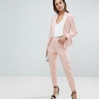 ASOS DESIGN Petite tailored contrast satin tapered pants | ASOS
