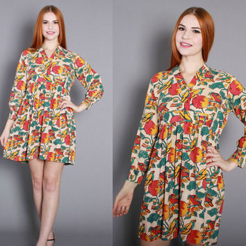 70s ETHNIC India Cotton DRESS / 1970s BIRDS & Fruit Print Indian Mini Dress