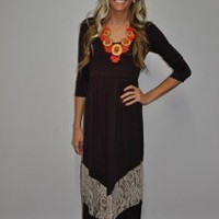 MVB 3/4 Sleeve Burgandy and Cream Maxi Dress