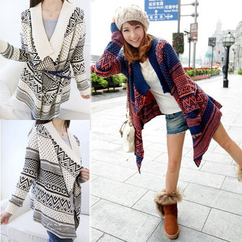 Women's Batwing Long Sleeve Cape Poncho Knit Top Outwear Cardigan Sweater l_f 8169