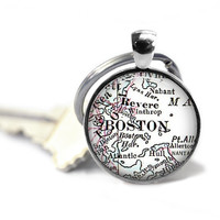 Boston Keychain, Custom Boston Map Key Chain, Customized Mens Keychain, Keychain for him, Husband Gift, Gift for men, Custom Keychain