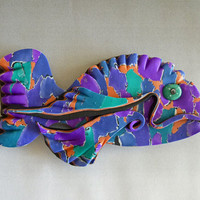 Torn Patchwork 3D Large Fish Magnet or Wall Art in Purple, Green and Orange Polymer Clay