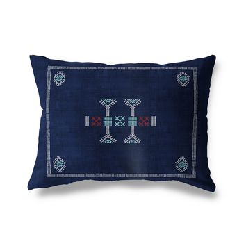 MORROCCAN KILIM NAVY Indoor|Outdoor Lumbar Pillow By Becky Bailey