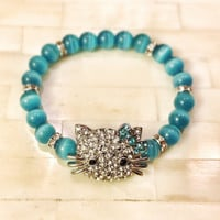 Hello Kitty Bracelet Stackable Stretch Rhinestone with Blue Green Aqua Glass Cats Eye Beads