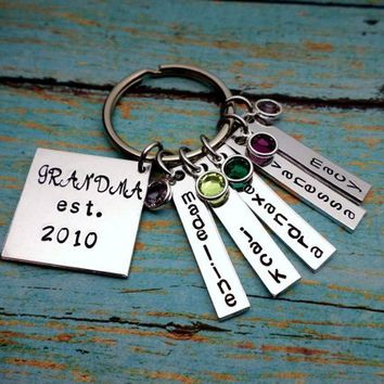 They Call Me Grandma, Name Tag Keychains, Swarovski Birthstones, Perfect Gift from the kids, mom