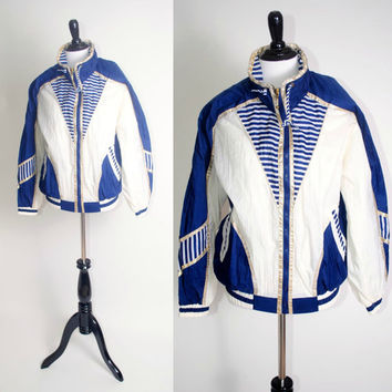 Vintage 1980s oversize zip up Blue white metallic Gold NAUTICAL blue white colorblocked windbreaker bomber jacket coat