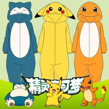 Pokemon Snorlax/Charmander/pikachu Pyjamas Unisex Halloween Flannel Pajamas Sleepwear Cosplay Costumes Fancy Bodysuits