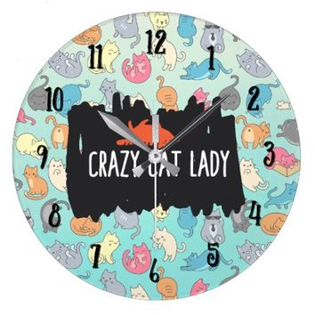 Crazy Cat Lady Playful Cat Pattern Large Clock