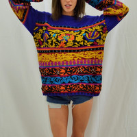 Vintage 80's Sweater- Purple with Patterns and Beads