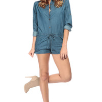 Button Down Chambray Play Romper