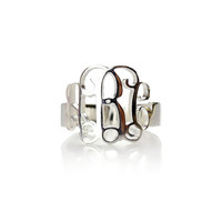 Monogram Cut Out Ring & Monogram Jewelry Sterling Silver Hand Cut Script Monogrammed Ring Nameplate Ring Best gift for girls