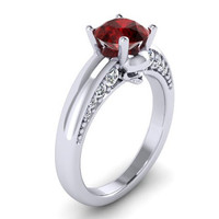 Skull Engagement Ring in Platinum with Genuine Ruby