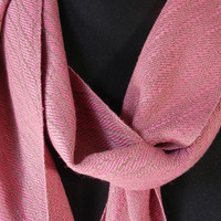Elegant Strawberry and Chocolate Woven Bamboo Scarf