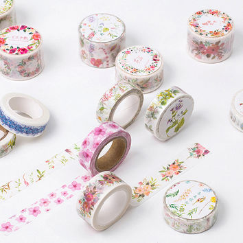 8M Flower Series washi tape DIY decoration scrapbooking planner masking tape adhesive tape label sticker stationery