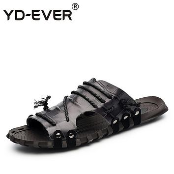YD-EVER genuine leather men sandals handmade Summer fashion brand beach slippers casual moccasin Handmade plus size crocodile