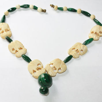 Vintage Faux Ivory Necklace Malachite Bead Ox Bone Elephant 1950s Jewelry