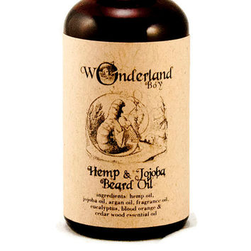 Hemp & Jojoba Beard Oil, All Natural Beard Oil, Men's Grooming,  Gift for Him, The Caterpillar, Alice in Wonderland
