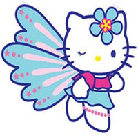 10pc Hello Kitty Butterfly Large Wall Accent Stickers Set