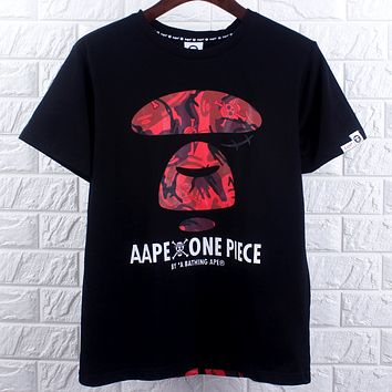 AAPE x ONE PIECE co-branded men's and women's round neck loose short-sleeved T-shirt Black