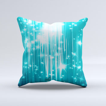Bright Blue Glistening Streaks ink-Fuzed Decorative Throw Pillow